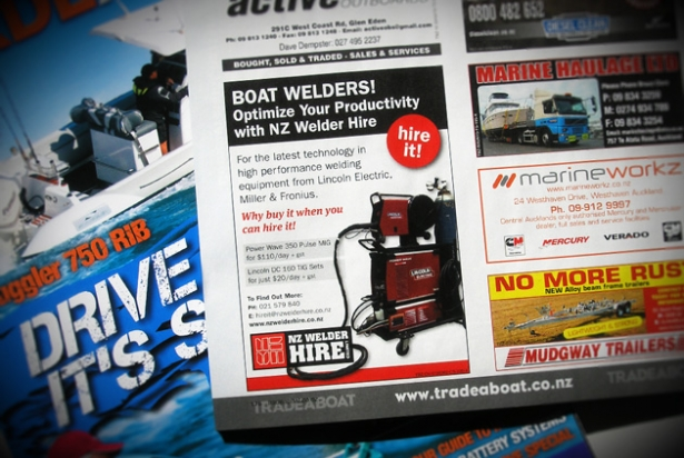 NZ Welder Hire quarter page ad for TradeABoat magazine