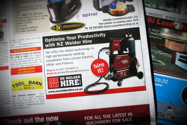 NZ Welder Hire quarter page ad for Machinery Seller News