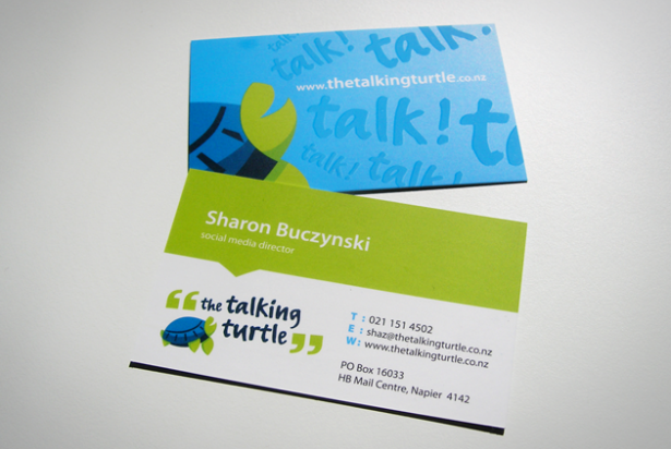 The Talking Turtle business cards